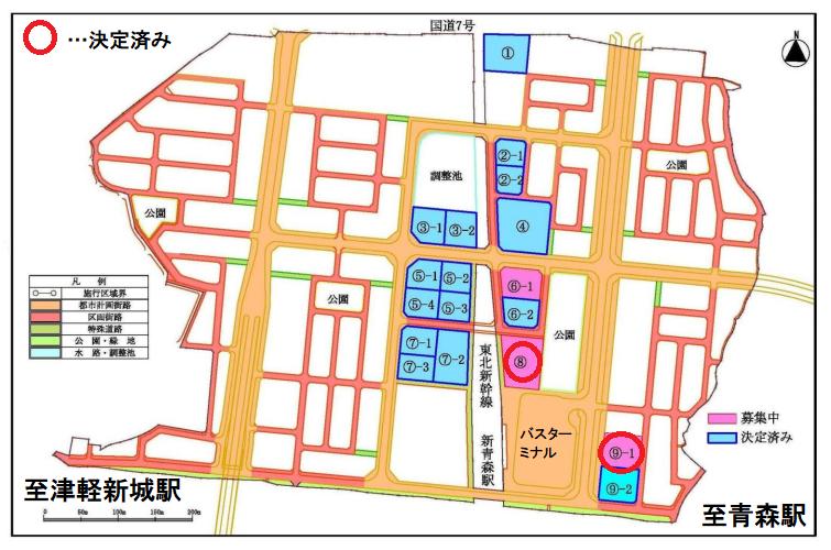 青森都市計画事業石江土地区画整理事業一般保留地配置図